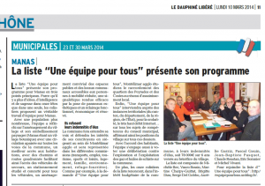 Article Dauhine Libere 10 Mars 2014